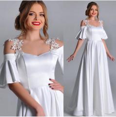 Beyaz Madonna Omuz Uzun Elbise 38 ile 48 Beden