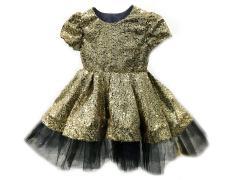 Gold Payetli Çocuk Elbisesi Toptan 2-3 yaştan 12 y