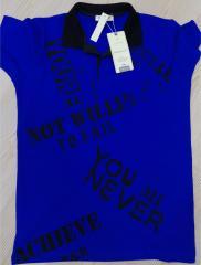 Siyah Baskılı Saks Mavi -Polo Yaka Lakos T-Shirt