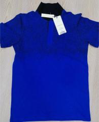 Kaliteli Saks Mavi - Polo Yaka Lakos T-Shirt