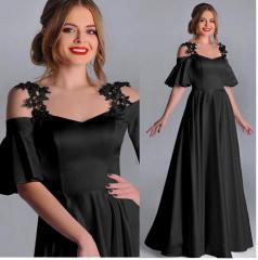 Siyah Madonna Omuz Uzun Elbise 38 ile 48 Beden